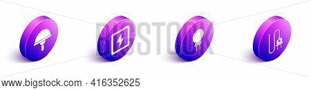Set Isometric Light Emitting Diode, Lightning Bolt, Light Emitting Diode And Electric Plug Icon. Vec