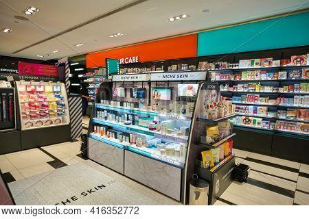 KUALA LUMPUR, MALAYSIA - CIRCA JANUARY, 2020: personal care products on display at Sephora store in Suria KLCC shopping mall in Kuala Lumpur.