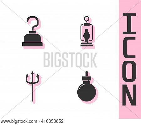 Set Bomb Ready To Explode, Pirate Hook, Neptune Trident And Camping Lantern Icon. Vector