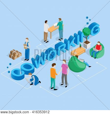 Coworking People Isometric Composition With Figures Of Freelance Workers And Various Situations Grou