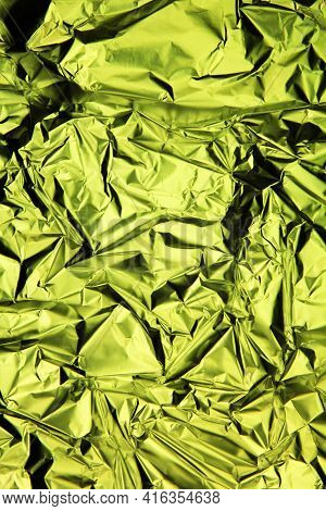Foil Background. Crumpled Foil. Abstract Background. Wallpaper. Green