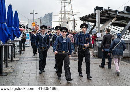 Port Birthday 2019, Hamburg, Germany, May 10, 2019. Russian Sailors From The Training Ship Mir.