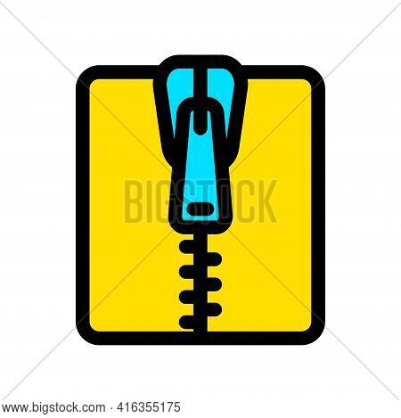Zipper Tool Simple Style Color Icon. Close Zip Lock Tailor Pictogram. Textile And Fabric Zippers Fas