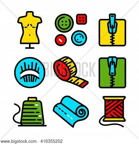 Sewing Related Simple Color Icons Set. Sewing And Needlework Tools Vector Editable Stroke Pictogram,