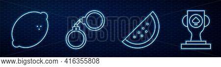 Set Line Casino Slot Machine With Watermelon, Casino Slot Machine With Lemon, Handcuffs And Casino P