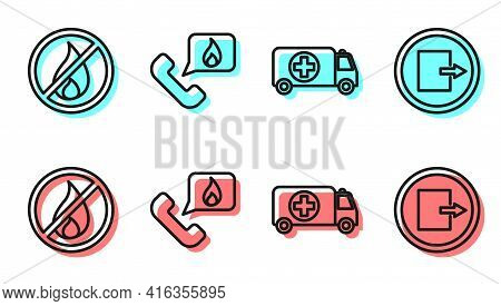 Set Line Ambulance And Emergency Car, No Fire, Telephone With Emergency Call 911 And Fire Exit Icon.
