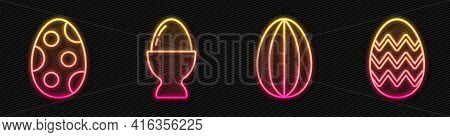 Set Line Easter Egg, Easter Egg, Easter Egg On A Stand And Easter Egg. Glowing Neon Icon. Vector