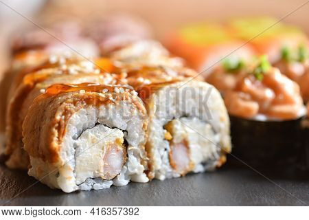 Appetizing Sushi Roll With Eel Prepared At Home Close-up