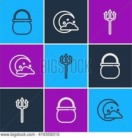 Set Line Halloween Witch Cauldron, Neptune Trident And Moon And Stars Icon. Vector