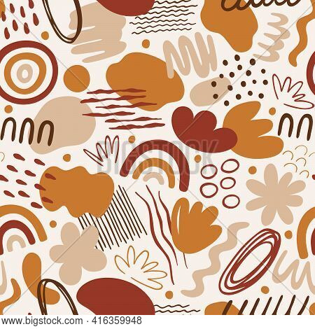 Seamless Pattern With Abstract Organic Shapes: Spots, Lines, Dots, Waves, Flowers, Rainbow. Vector I