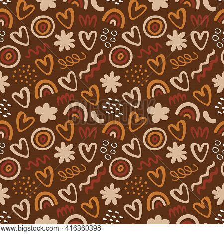Seamless Pattern With Abstract Organic Forms: Waves, Dots, Rainbow, Flowers, Hearts. Illustration Wi