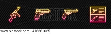 Set Line Revolver Gun, Tommy, Pistol Or And Weapon Catalog. Glowing Neon Icon. Vector