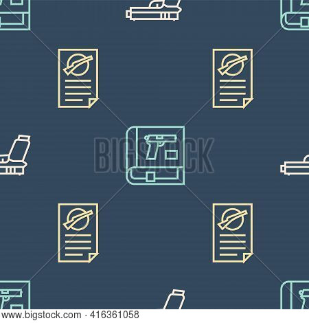 Set Line Pistol Or Gun, Firearms License Certificate And Book With Pistol On Seamless Pattern. Vecto