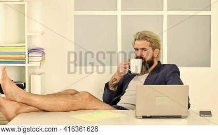 Work Through Evening Or Procrastinate Further. Maintaining Regular Business Hours. Man Doing Busines