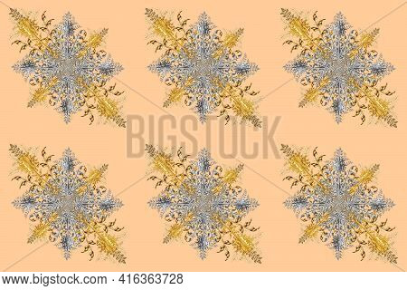 Snowflake With Silver And Gray Vintage Elements. Vintage. Leaves. Pattern. Branch. Christmas. Pano P