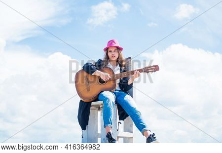 Pretty Teen Girl With Acoustic Guitar, Guitarist