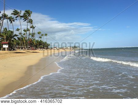 PUNTA CANA, DOMINICAN REPUBLIC - DEC 20, 2016: Beach at Dreams Resort and Spa, Punta Cana. The resort is one of several properties in the AMResorts Collection.
