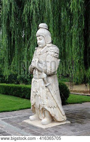 BEIJING, CHINA - 3 JUL 2006: Warrior Statue, Avenue of the Animals, Beijing, China