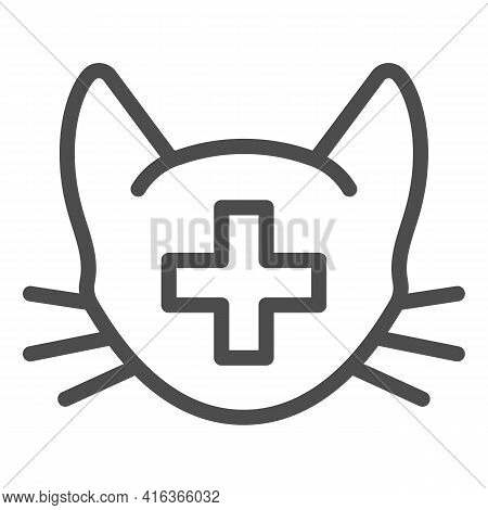 Cat Head With Medical Sign Line Icon, Animal Hospital Concept, Veterinary Symbol On White Background