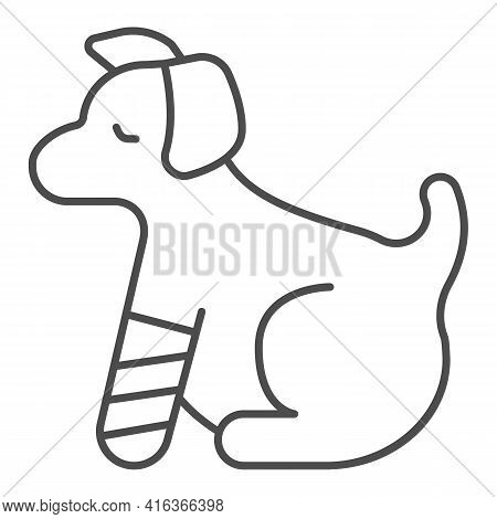 Puppy With Bandaged Paw Thin Line Icon, Animal Hospital Concept, Dog With An Injured Leg Sign On Whi