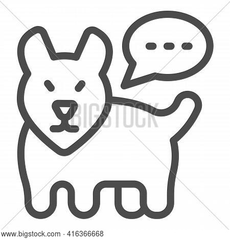 Dog And Dialogue Line Icon, Animal Hospital Concept, Dog Barking Sign On White Background, Dog With