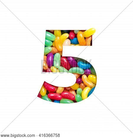 Number Five Of Colourful Candies Jelly Beans And Paper Cut In Shape Of Fifth Digit Isolated On White