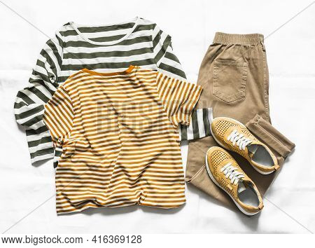 Women's Clothing Set - A Pair Of Long And Short Sleeve T-shirts, Suede Sneakers And Jogger Pants On