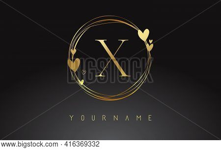 Letter X Logo With Golden Circle Frames And Golden Hearts. Luxury Vector Illustration With Letter X