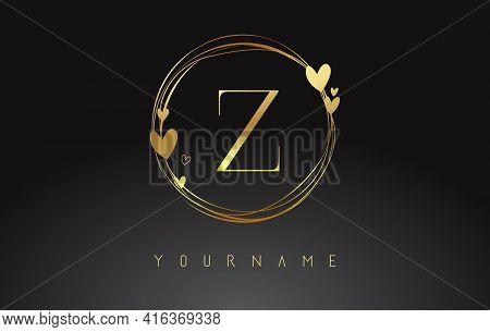 Letter Z Logo With Golden Circle Frames And Golden Hearts. Luxury Vector Illustration With Letter Z