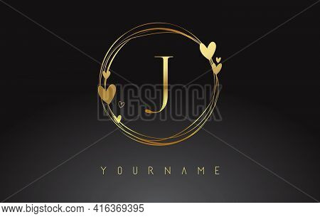 Letter J Logo With Golden Circle Frames And Golden Hearts. Luxury Vector Illustration With Letter J