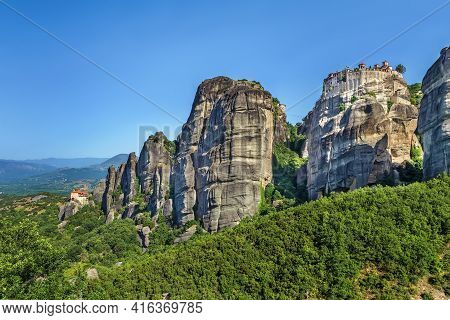 View Of Rocks With Monastery Of Varlaama In Meteora, Greece