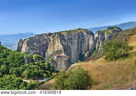 View Of Rocks With Monastery Of Rousanou In Meteora, Greece