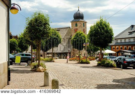 Schluchsee, Baden-württemberg, Germany - July 28 2020 : View On The St.-nikolaus Kirche (catholic Ch