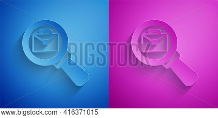 Paper Cut Magnifying Glass With Briefcase Icon Isolated On Blue And Purple Background. Job Hunting I