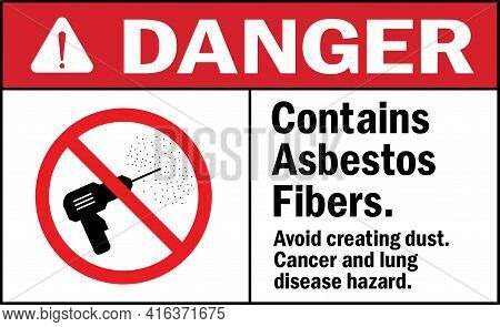 Danger Sign. Contains Asbestos Fibers Cancer Disease Hazard. Facility Signs And Symbols.