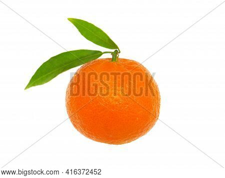 Tangerine Or Clementine With Green Leaf Isolated On White