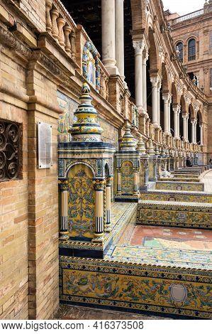 Seville, Spain - 07 April, 2019: The Tiled Provincial Alcoves Along The Walls Of The Plaza De Espana
