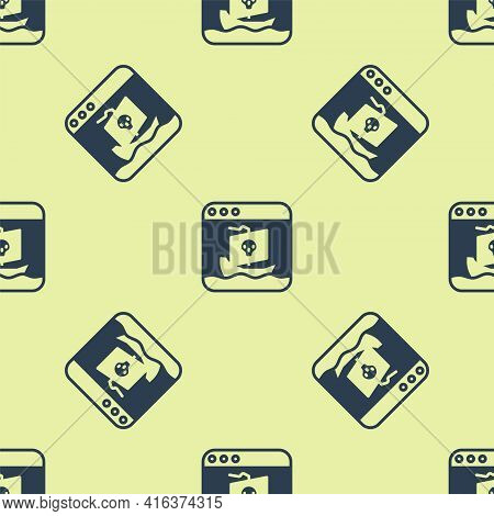 Blue Internet Piracy Icon Isolated Seamless Pattern On Yellow Background. Online Piracy. Cyberspace
