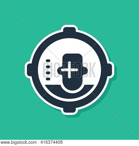 Blue Headshot Icon Isolated On Green Background. Sniper And Marksman Is Shooting On The Head Of Man,