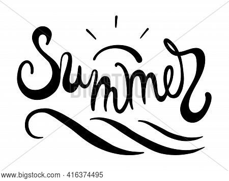 Brush Lettering Composition Of Summer With Doodle Sun And Wave On White Background. Season Calligrap