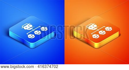 Isometric Mafia Icon Isolated On Blue And Orange Background. Boss And Gangsters. Square Button. Vect