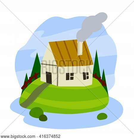 Village House. Rural White Building With Red Roof. Home On Green Hill And Road. Country Landscape Wi