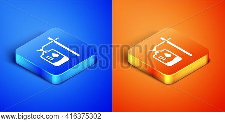 Isometric Iv Bag Icon Isolated On Blue And Orange Background. Blood Bag. Donate Blood Concept. The C