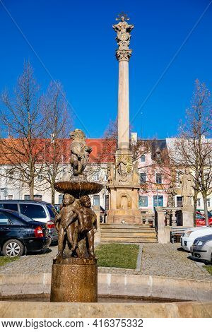Baroque Lion Fountain, Sculptural Group Of Dancing Children, Main Square, Old Town, Renaissance Baro
