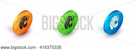 Isometric Hearing Aid Icon Isolated On White Background. Hearing And Ear. Circle Button. Vector
