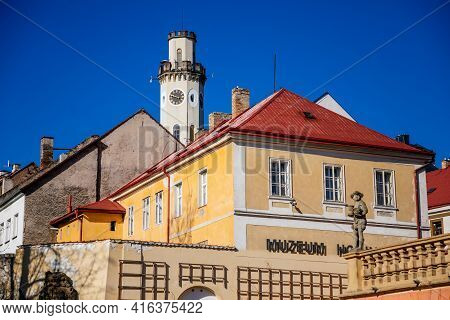 Neo-renaissance White Town Hall, High Tower, Medieval Picturesque Narrow Street, Renaissance And Bar