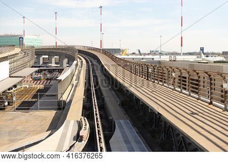 Rome, Italy. Spring 2020. Flyover And Rails For Automatic Airport Shuttles. Light Metro Inside A Lar
