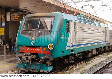 Rome, Italy. Spring 2020. Electric Train At The Rome Railway Station. Standing At The Platform Of Th