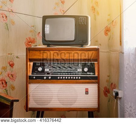 Retro Technology, Vintage Radiogram 1960S And Tube Tv At Home In Living Room, Old School Style 1970S
