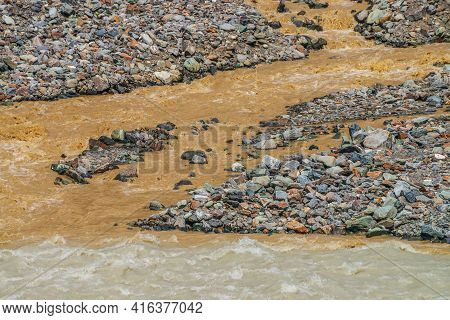 Multicolor Landscape With Confluence Of Two Rivers. Beautiful Vivid Background With Two Rivers In Sa